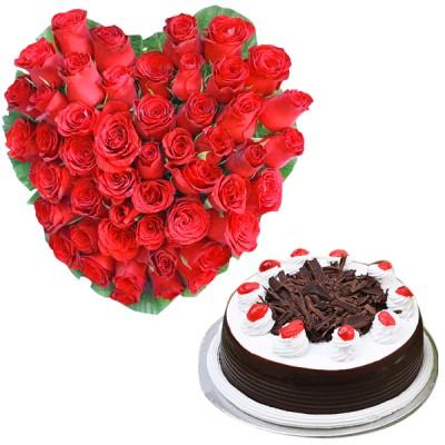 Golden Heart N Cake Combo