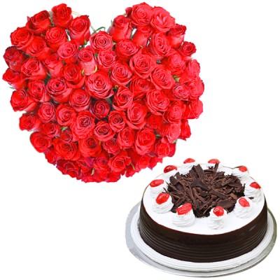 Platinum Heart N Cake Combo