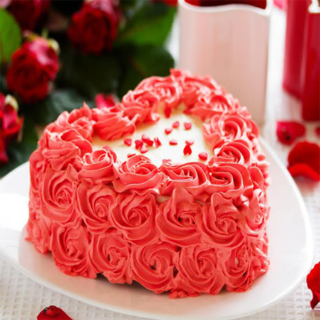 Heart Shaped Strawberry Love Cake