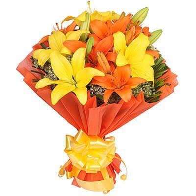 Asiatic Lilliums in Orange Paper Packing