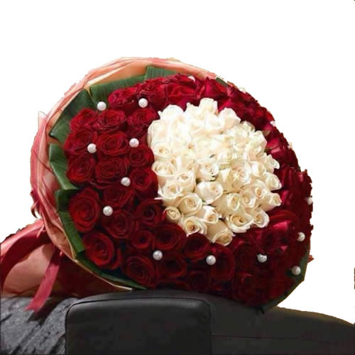 Exclusive Red & White Roses Bouquet