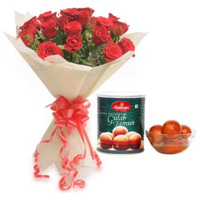Roses Bunch & 1Kg Gulab Jamun Pack